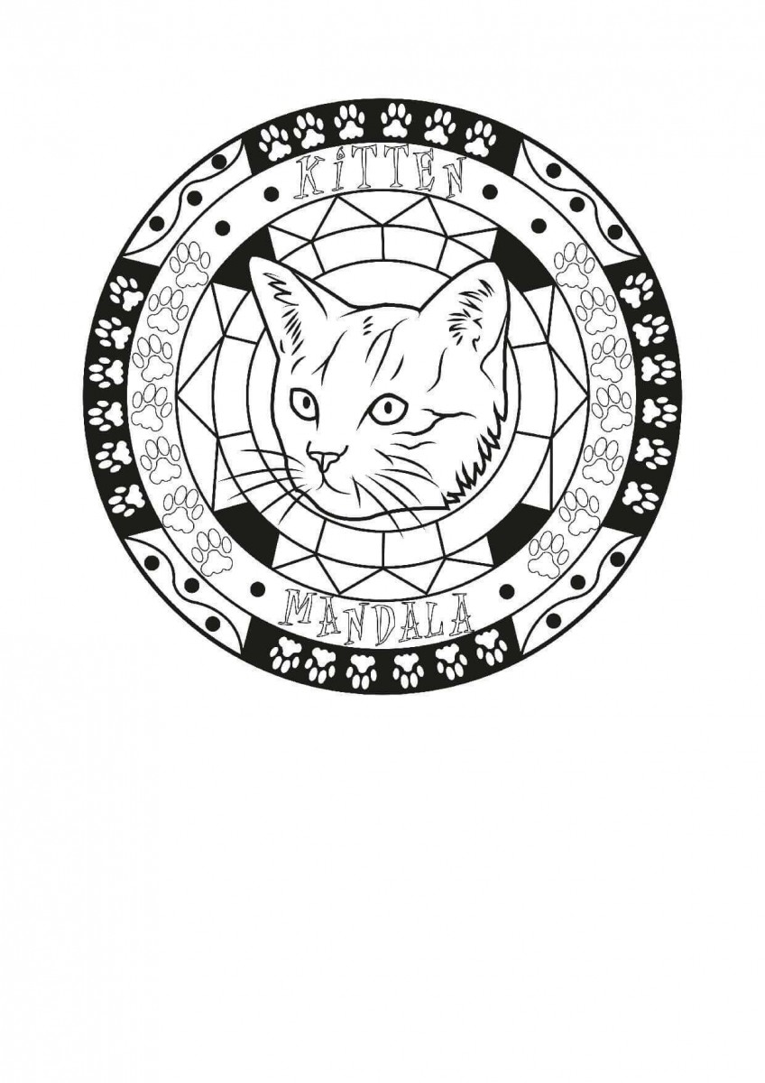 17.Help The Little Kitten Out Mandala Coloring Page