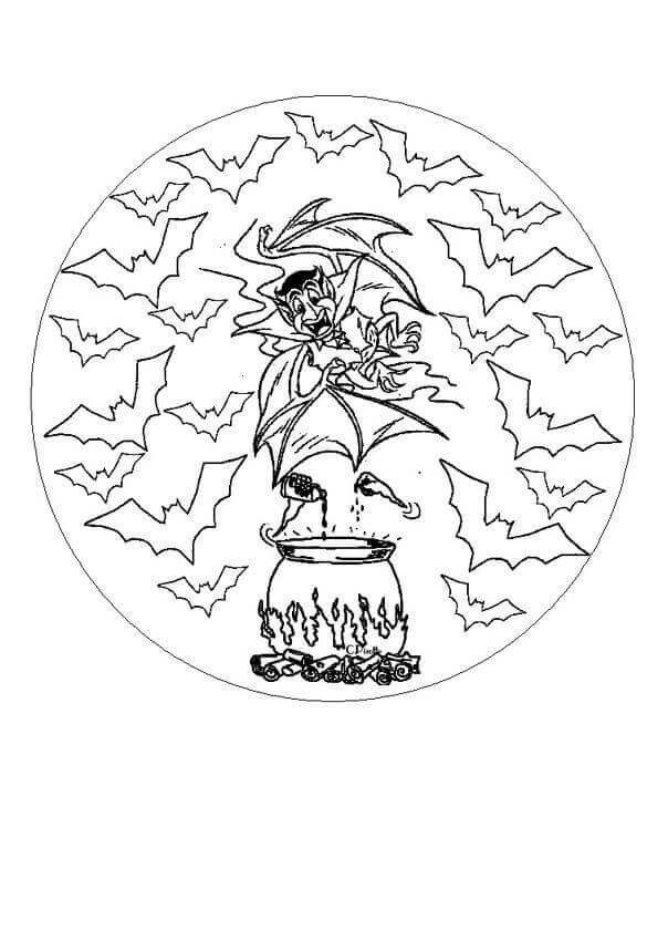 Witches Mandala Coloring Page