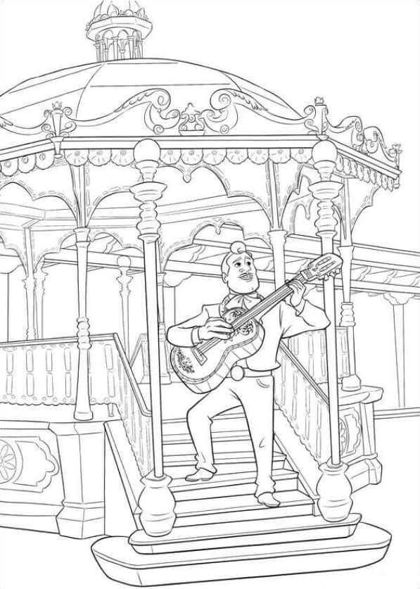 Ernesto de la Cruz In HIs Life Form Coco Coloring Pages