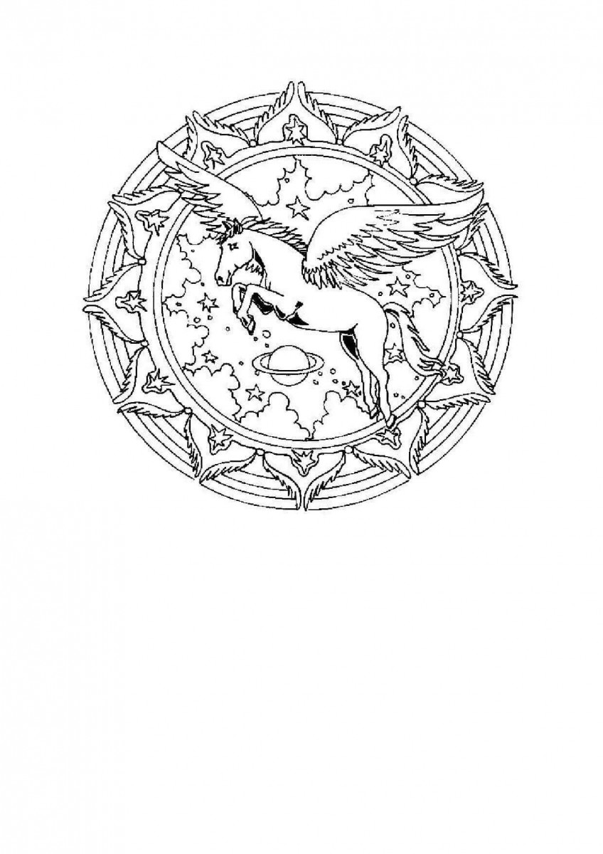 21.The Magical Powers Of An Unicorn Mandala Coloring Page