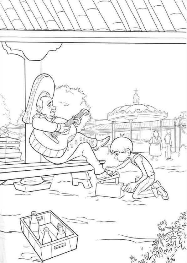 Coco Polishing Shoes Coco Coloring Pages