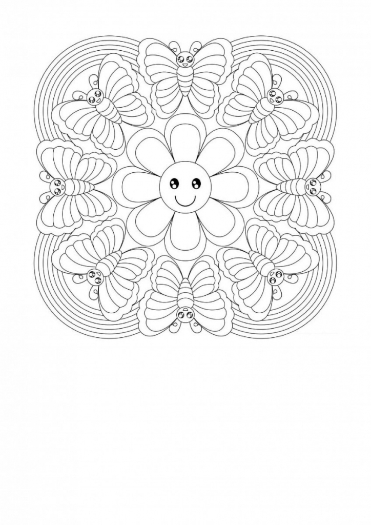 Butterflies And Flowers Mandala Coloring Page