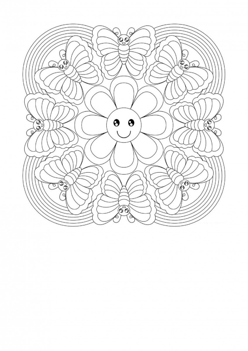 22.The Friendship Of Butterflies And Flowers Mandala Coloring Page