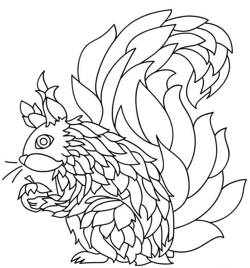 26.The Squirrel Finds A Nut Mandala Coloring Page