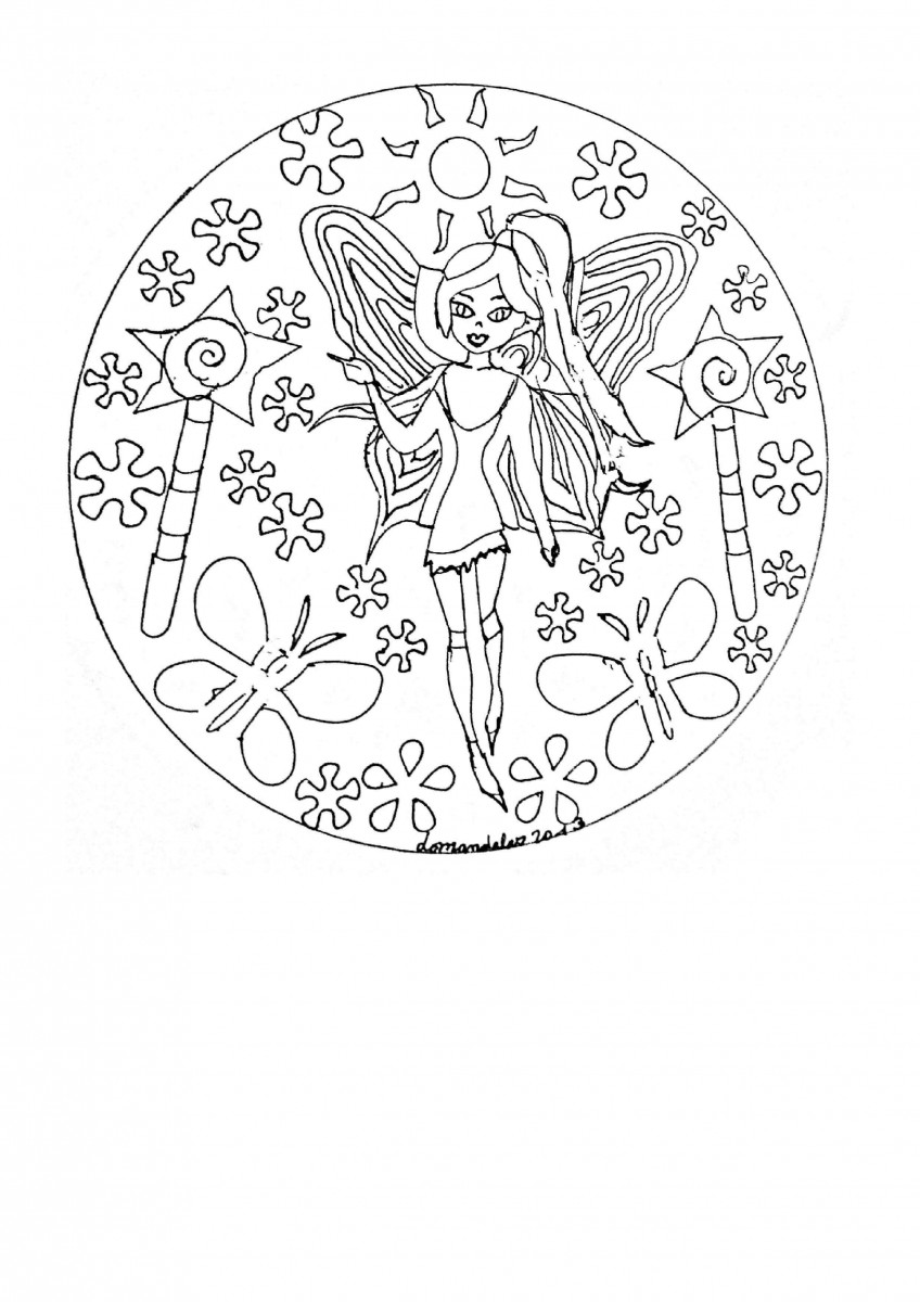 33.The Guardian Princess Mandala Coloring Page