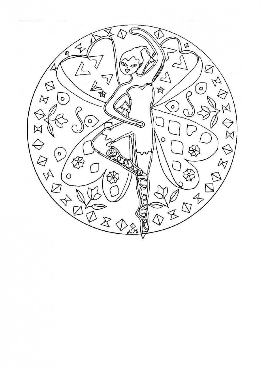 35.The Dancing Fairy Mandala Coloring Page