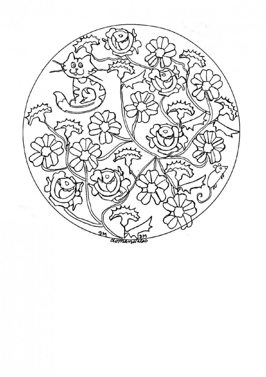 37.Help Serena In Finding Her Cat Mandala Coloring Page