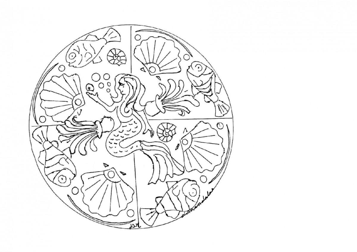 38.The Mermaid Princess Mandala Coloring Page