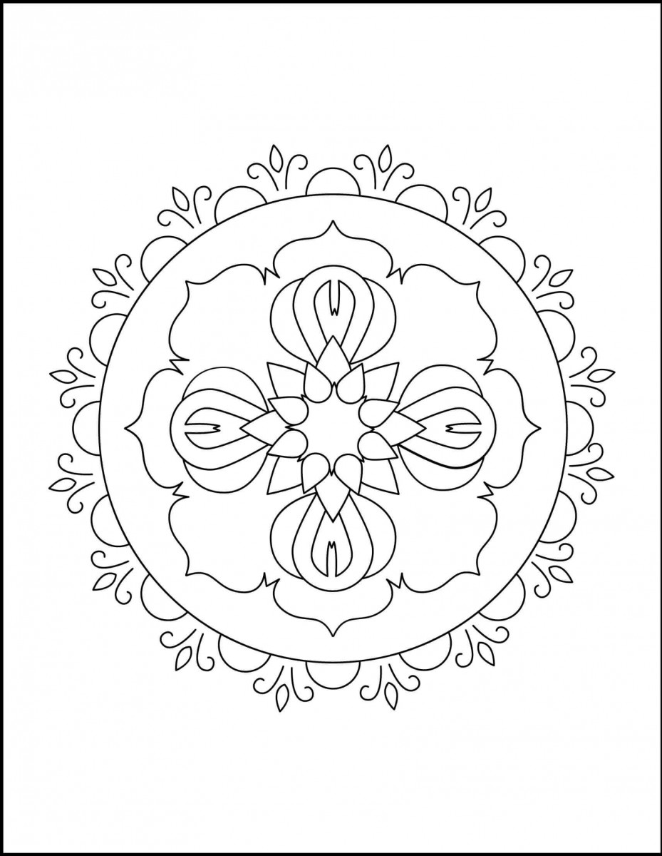40.Colour The Rangoli Mandala Coloring Page