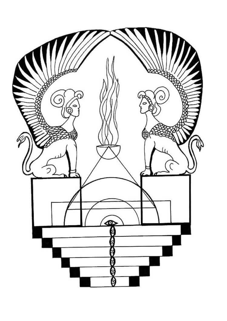 5.The Egyptian Guardian Of Idols Mandala Coloring Page