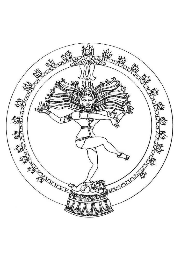 7.Natrajan- The Dancing God Mandala Coloring Page