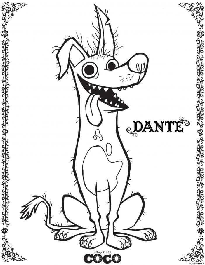 Dante Having Fun Coco Coloring Page