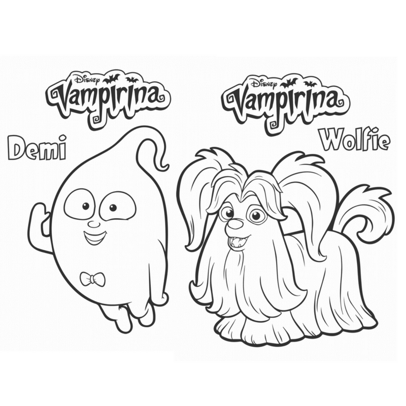 demi and wolfie vampirina coloring pages