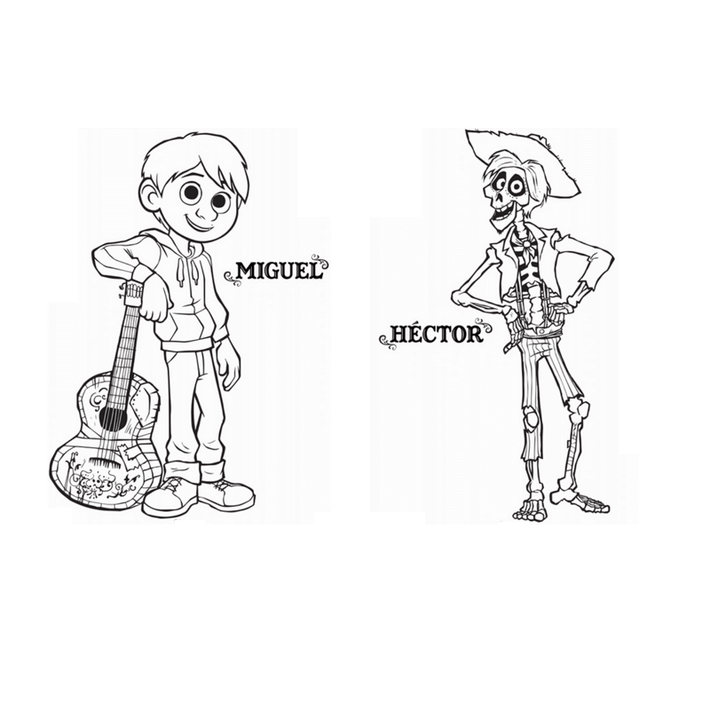 hector and miguel coco coloring pages