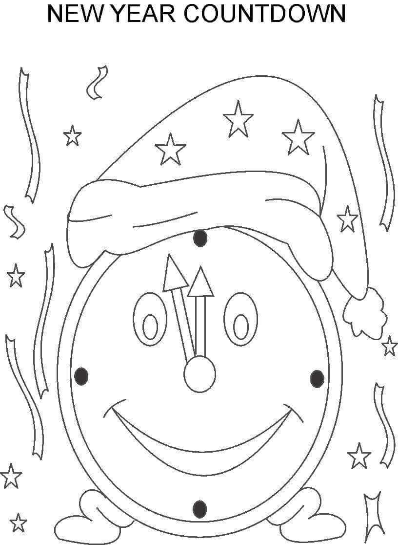 The New Year Clock Coloring Page