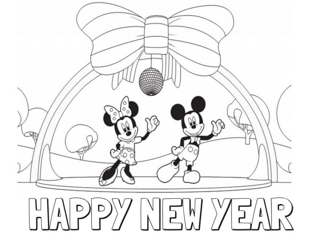 10. Minnie And Mickey Mouse New Year Coloring Page