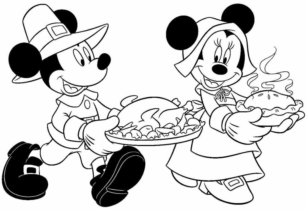 11 Mickey And Minnie Mouse Thanksgiving coloring page