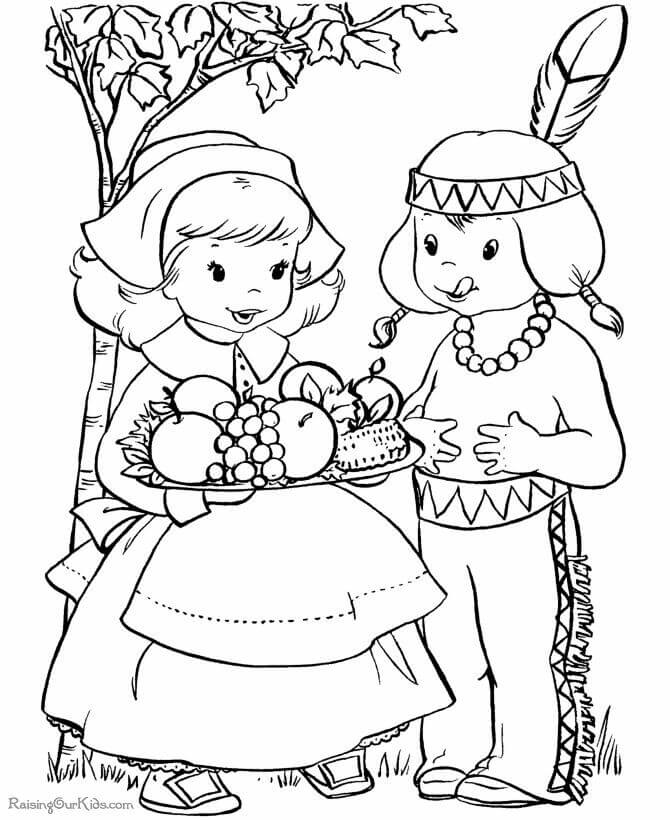 Pilgrims And Native American Thanksgiving coloring page
