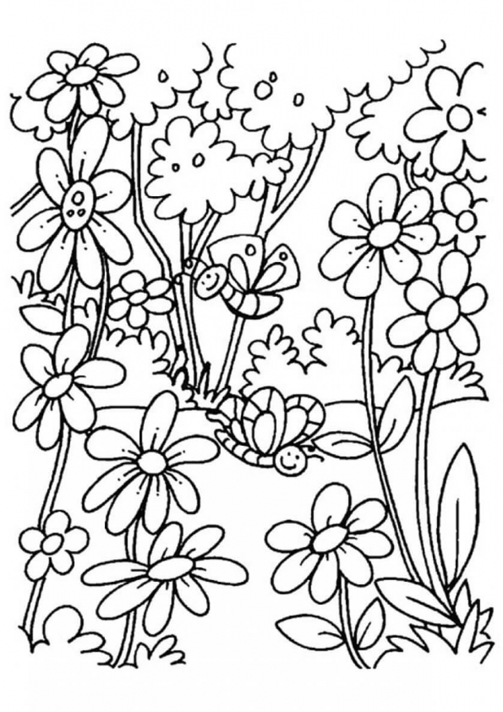 The Blooming Flowers coloring pages