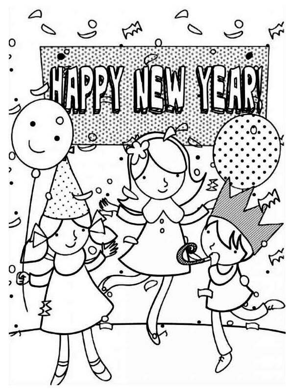 Kids celebrating new year coloring pages
