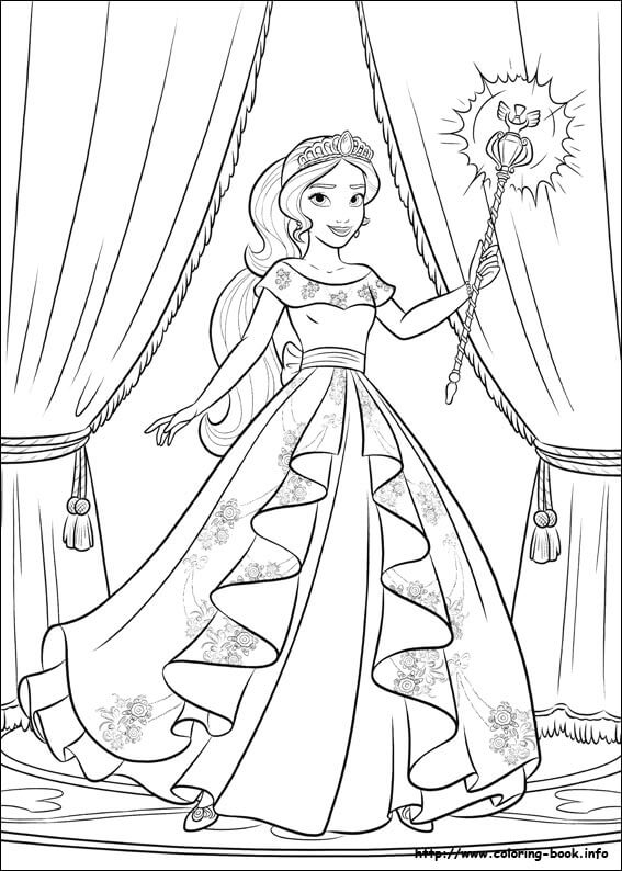 Elena With Her Staff Elena of Avalor Coloring Page