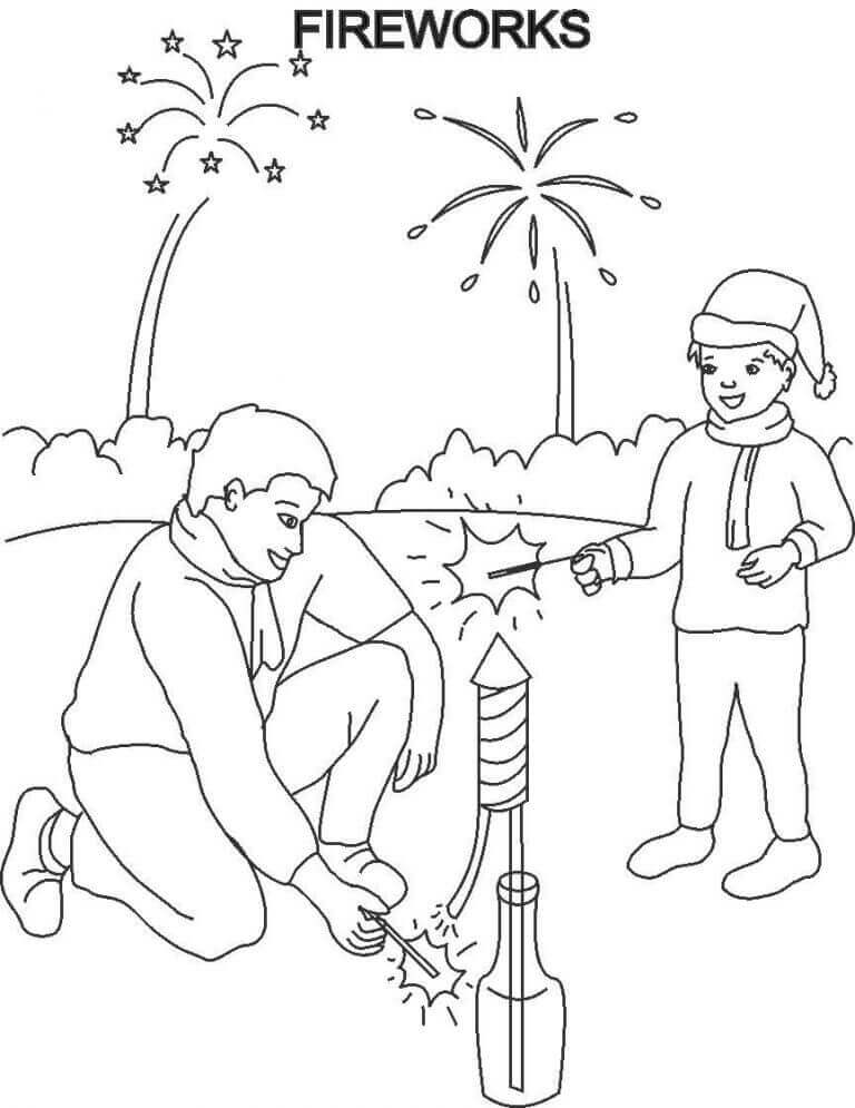 Fireworks New Year Coloring Page