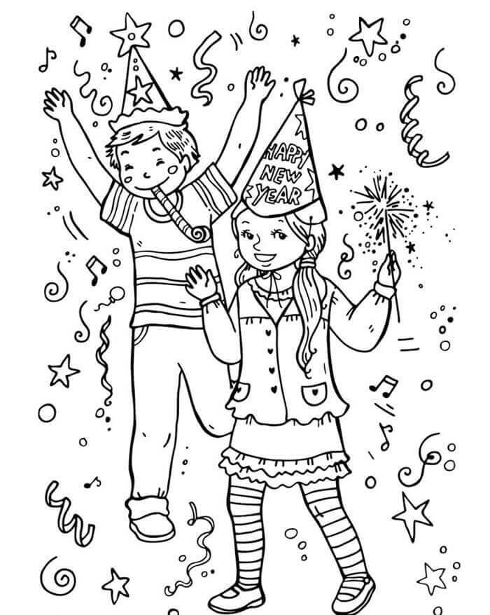 Children's New Year Party Coloring Pages