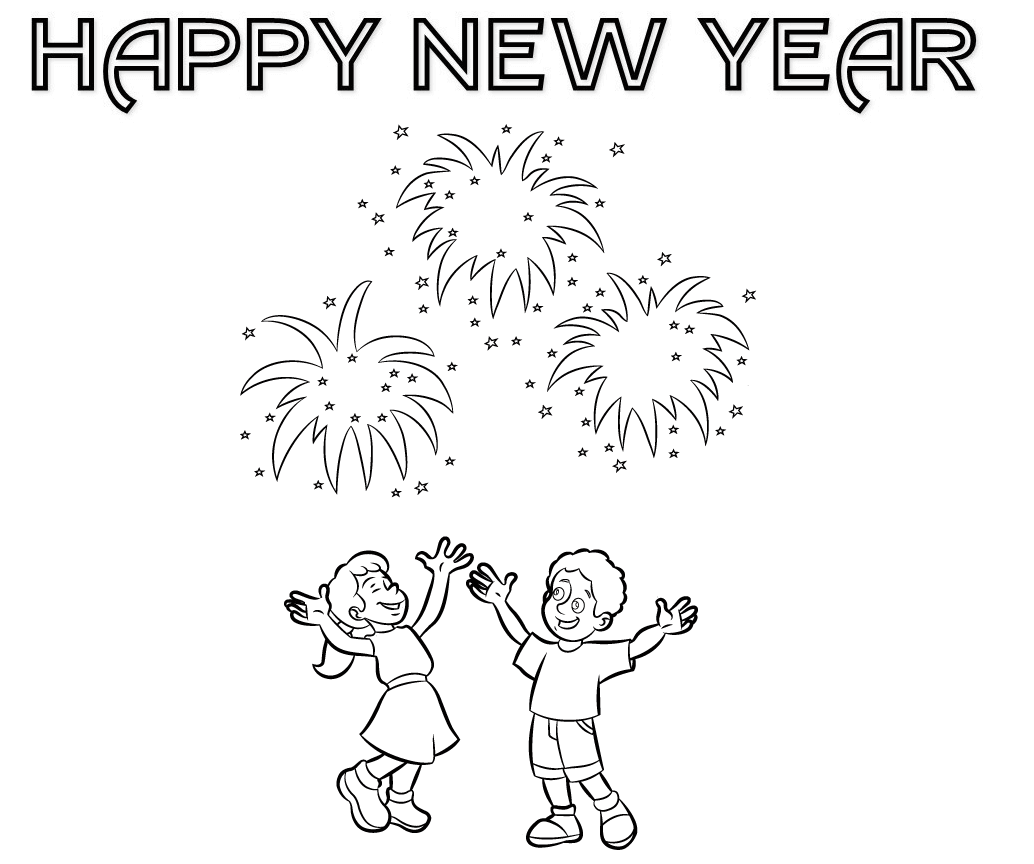 Fireworks Show New Year Coloring Pages