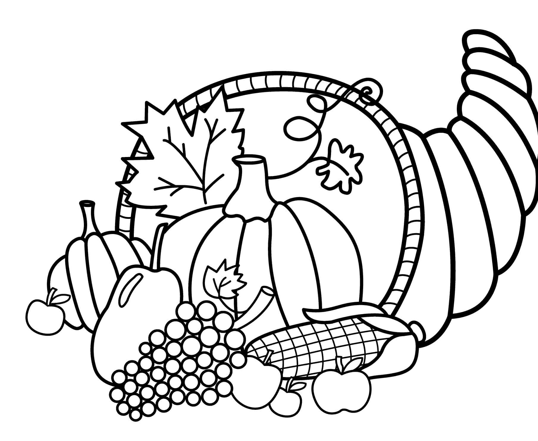 22 Cornucopia Thanksgiving coloring page