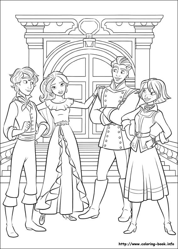 Elena Of Avalor, Gabe, Mateo And Naomi Coloring Page