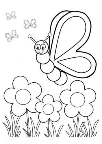 22 Flower And Butterfly coloring page