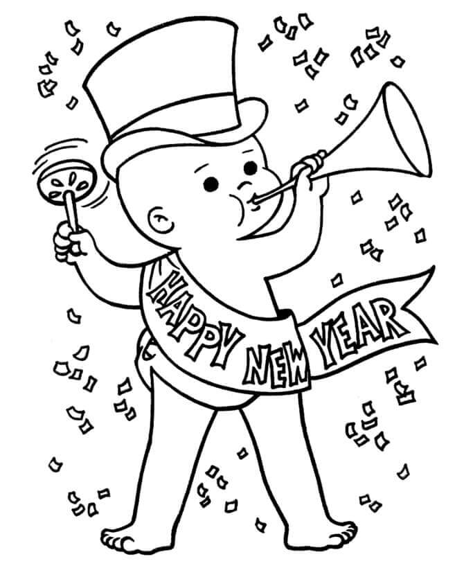 22. Baby New Year Coloring Page