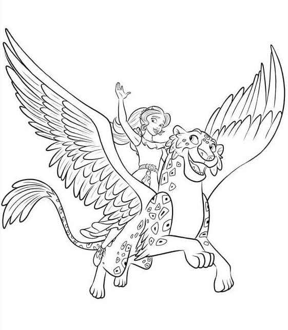 elena of avalor with jacquins coloring page - Elena Coloring Pages