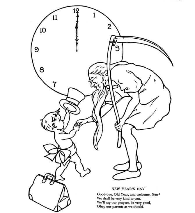 Father Time New Year Coloring Page