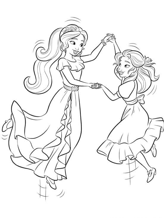 elena of avalor and isabel coloring page - Elena Coloring Pages
