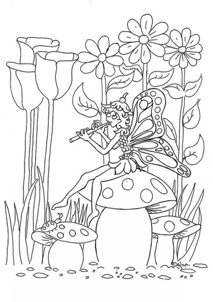 Fairy And Flower coloring pages