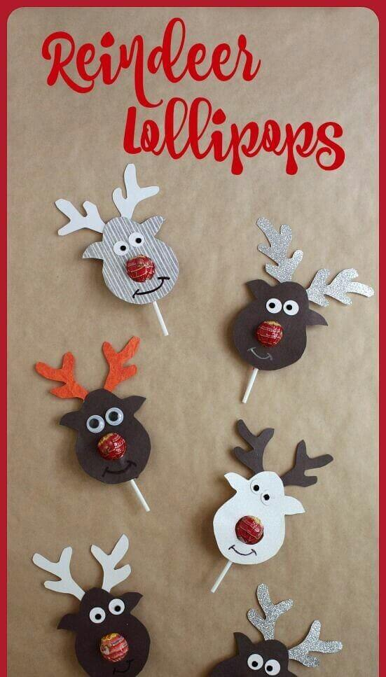 25 Reindeers Lollipops Christmas Crafts For Kids