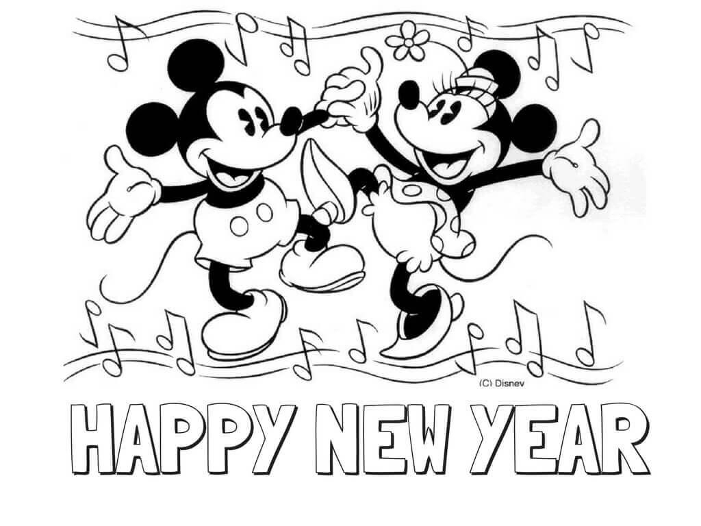 Mickey And Minnie New Year Coloring Pages