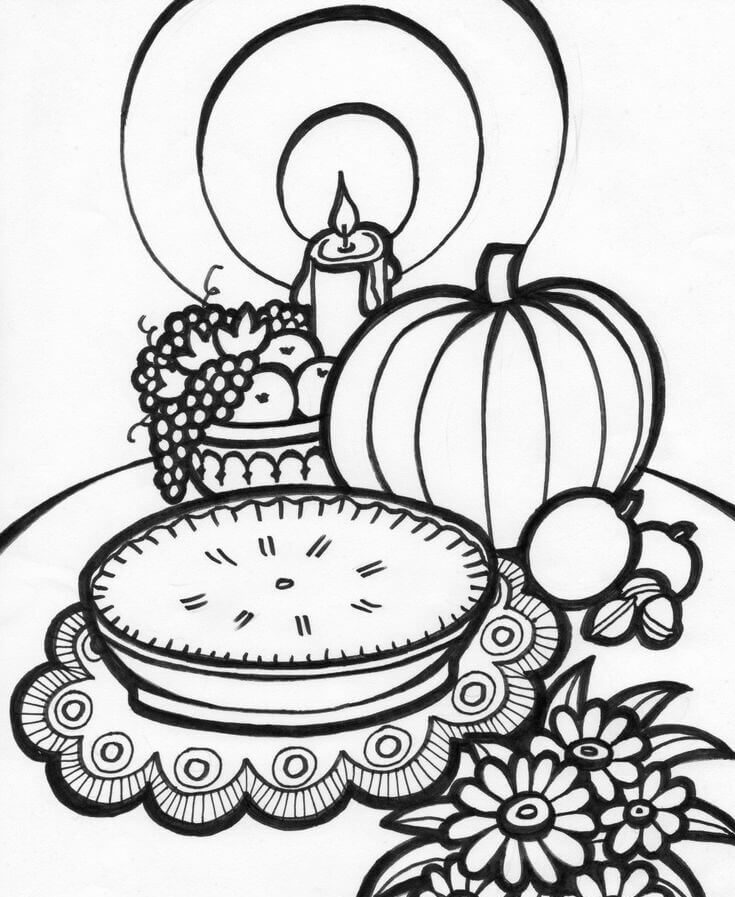 26 Decorated Thanksgiving Feast Table coloring page
