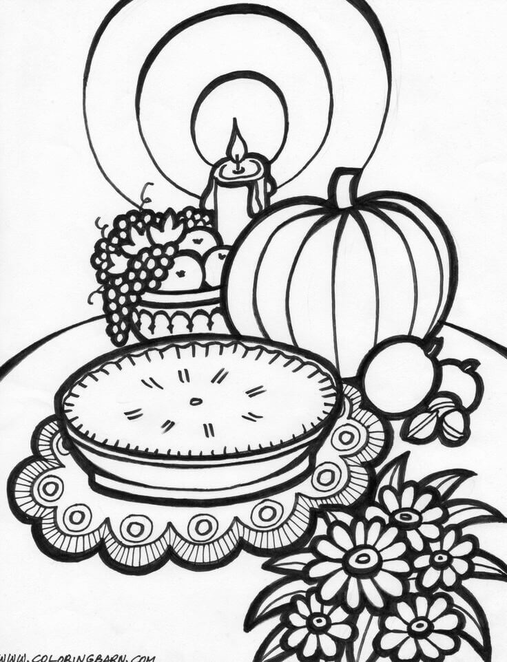 26 Decorated Thanksgiving Feast Table coloring page ...