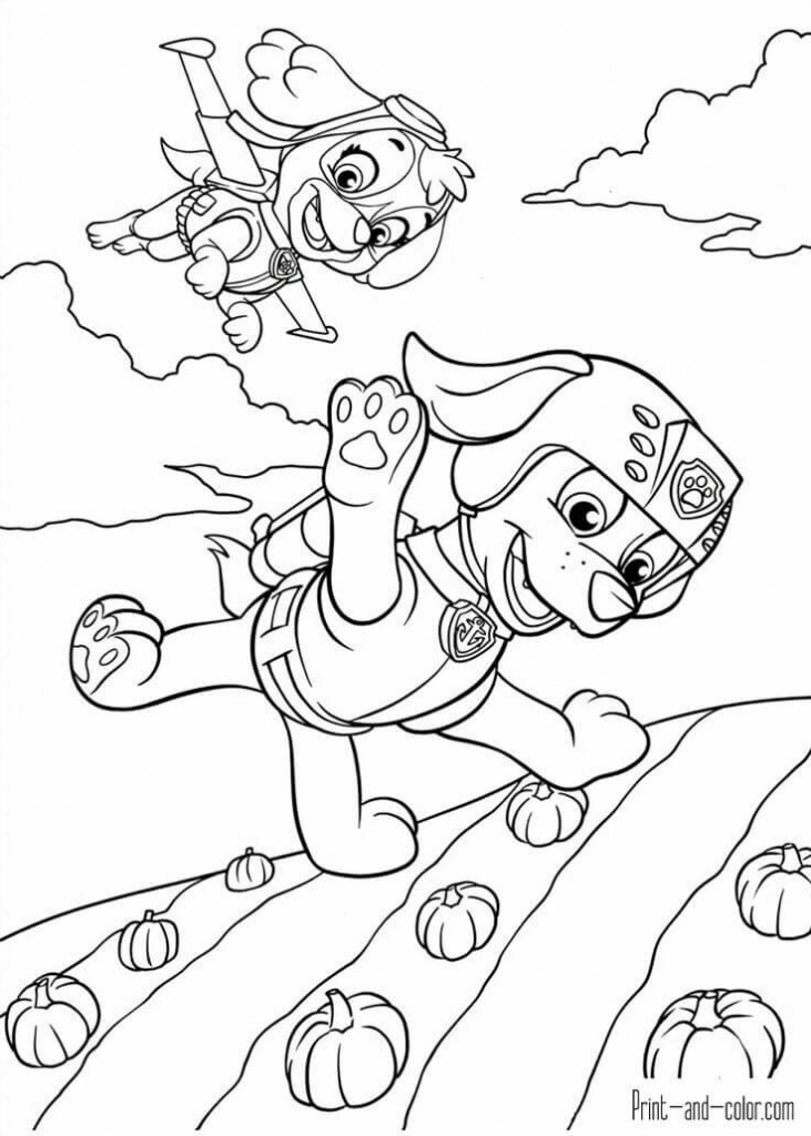 Paw Patrol Thanksgiving coloring pages