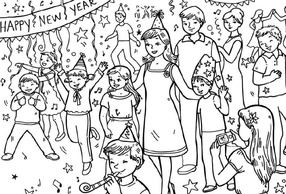 New Year Celebrations Coloring Pages