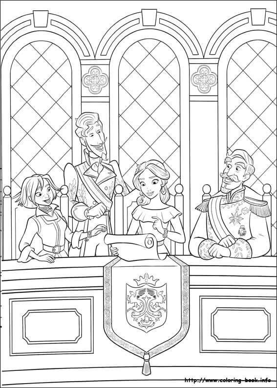 Elena With Francisco, Naomi And Esteban Elena of Avalor Coloring Page