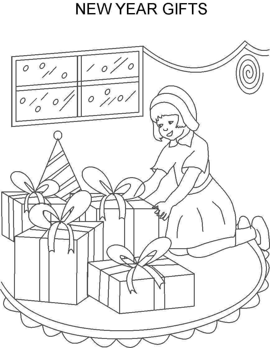New Year Gifts New Year Coloring Page