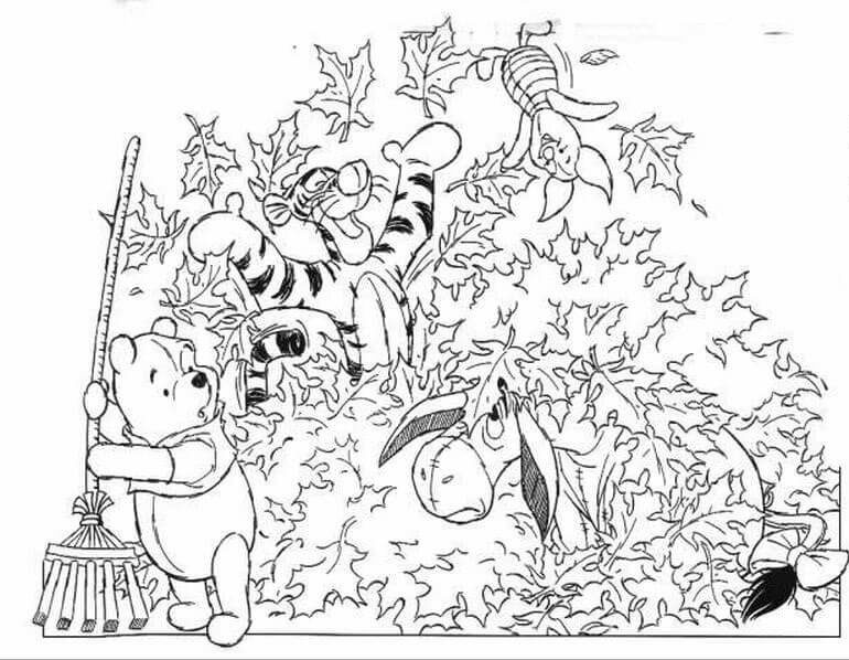 32 The Pile Of Leaves Thanksgiving coloring page