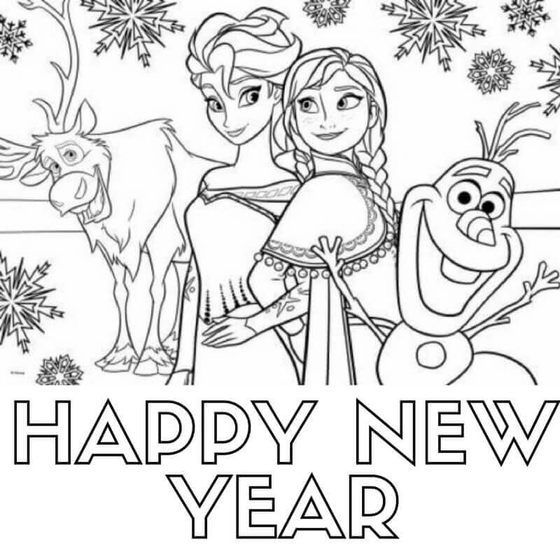 Elsa And Anna New Year Coloring Pages