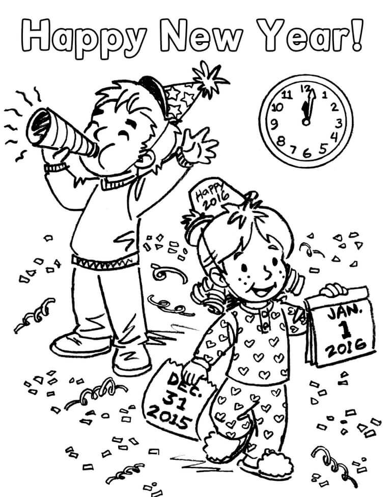 33. New Year Party Coloring pages
