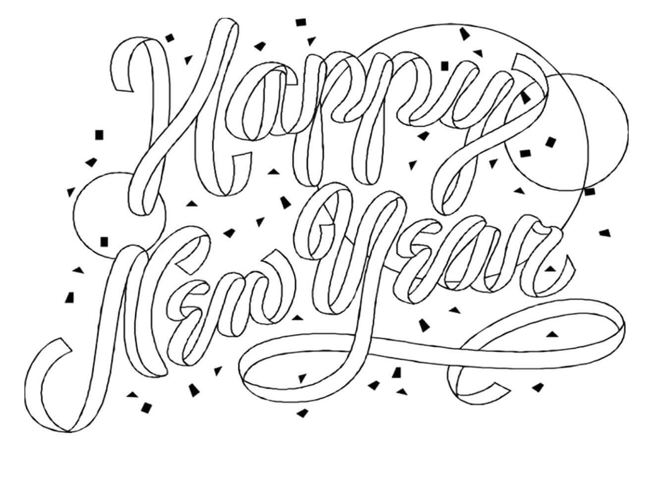 34. Simple New Year Coloring Page