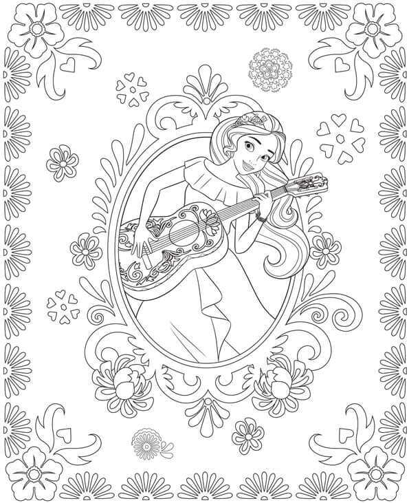 Elena With Her Guitar Coloring Pages