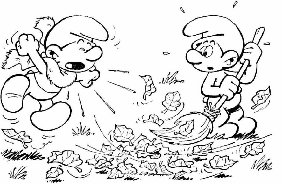 36 Smurfs Thanksgiving coloring page